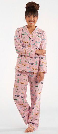 """Munki Munki Women's """"Vintage Sunglasses"""" Poplin Pajama in Lavender"""