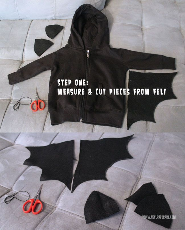 Super simple DIY baby bat costume using felt and a hooded sweatshirt - so very simple! Click through for full tutorial; please share/re-pin for future Halloween planning!