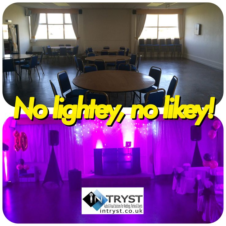 Before and after picture. 8 uplighters for this hall in Barkingside. Perfect if you need to add a bit of wow to your venue or for blank canvases.
