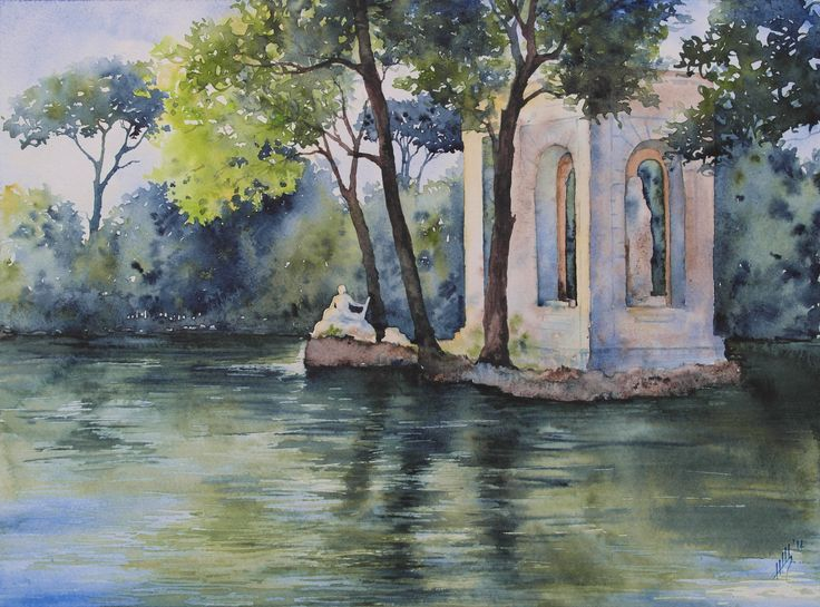 Shchepetnova Natalia.  The pond at the Villa Borghese. Rome. 30 x 40 cm