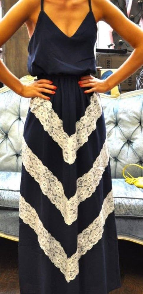 Navy Lace Chevron Sleeveless Maxi Dress