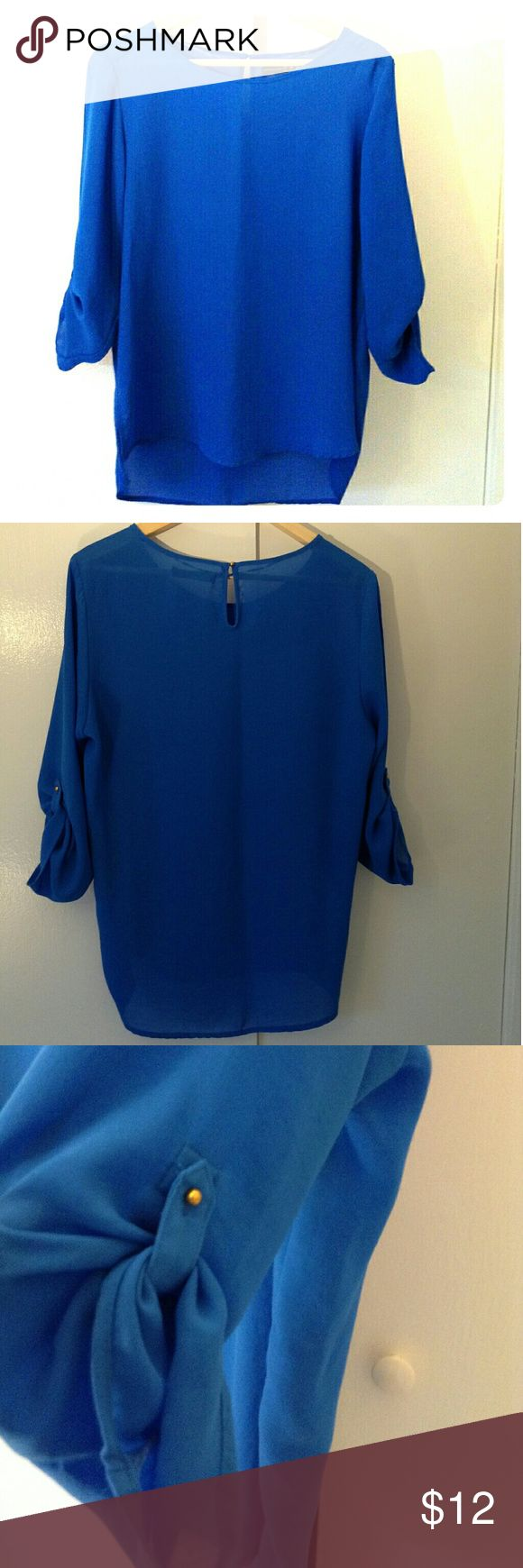 Blouse (new) Beautiful electric blue flowing blouse, 100% polyester Primark Tops Blouses