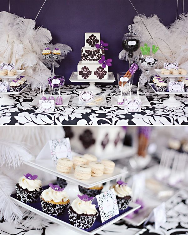 Black/White and Purple Dessert table love the damask and feathers.