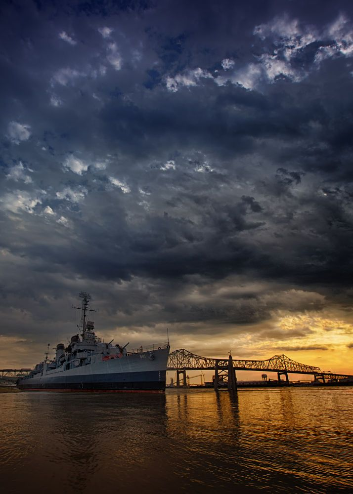 USS Kidd, Baton Rouge, Louisiana   Sunset Downtown Baton Rouge by Darrell Miller