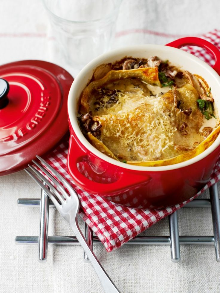 Individual Lasagnes in Le Creuset Pots that can go straight to the table or freezer! http://www.philipmorrisdirect.co.uk/le-creuset-stoneware-14cm-casserole-dish-cerise/product/