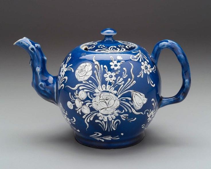 Blue and white salt-glazed teapot, English (Staffordshire), about 1750–60. #PutDownYourPhone #carde