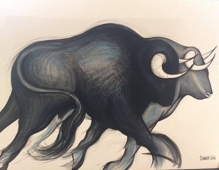 Artist: Tamés, Title: Toros en azul. Para más información: https://www.facebook.com/pg/MADartmx/photos/?tab=album&album_id=1191156194228133
