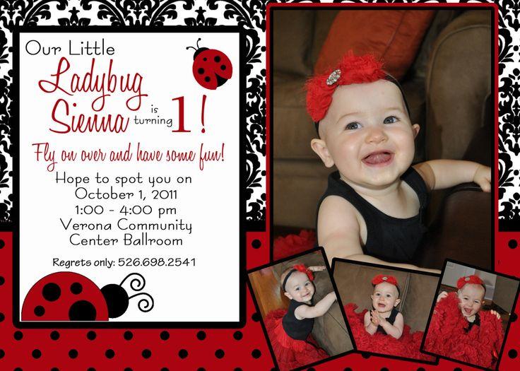 89 best Ladybug Birthday images – Ladybug Invitations 1st Birthday