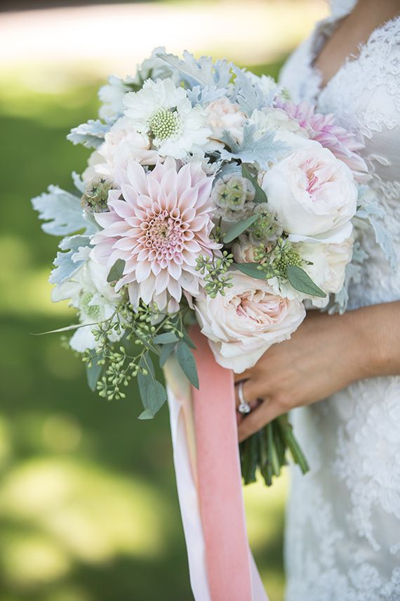 Rustic chic wedding bouquet: Cafe au lait dahlias, white scabiosa, seeded eucalyptus, white ranunculus, garden roses, lamb's ear, scabiosa pods, chocolate cosmos, and peach carnations. A Wanaka Wedding