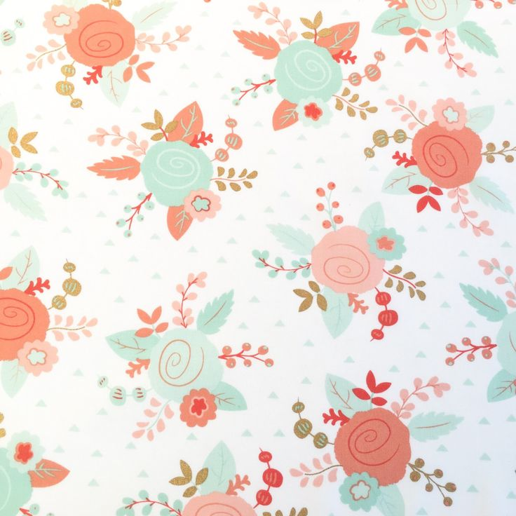 Gold And Pastel Floral Fabric Metallic Gold Coral Mint