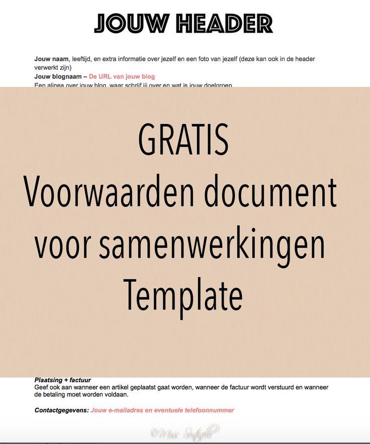Een voorwaarden document stuur ik mee met een reactie naar een bedrijf voor een samenwerking. Hierin plaats ik verschillende dingen, zoals informatie over mijzelf, mijn blog, de voorwaarden en de contactgegevens. Download GRATIS mijn voorwaarden document template!