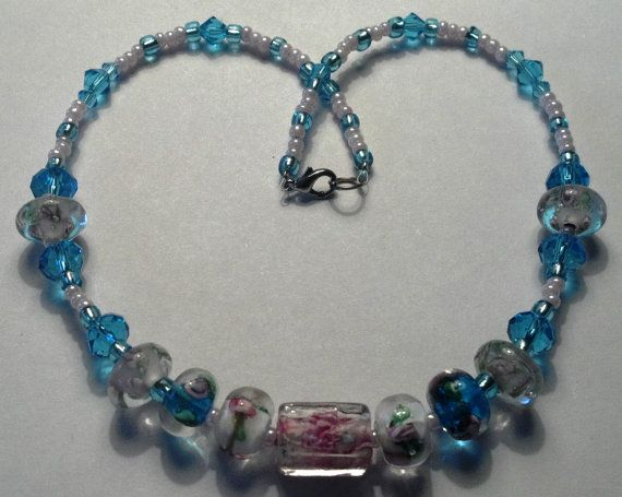 14 inch handmade pink and blue floral lampwork by MGBeadCreations, $25.00