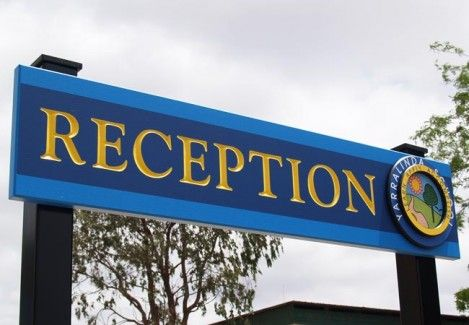 Three-dimensional school entry sign plus reception sign. The bright, colourful logo has interesting chip carved elements. Danthonia uses Dulux Weathershield paints, Australia's most UV resistant acrylic. These paints carry a 15-year manufacturers guarantee against cracking, blistering and/or peeling.