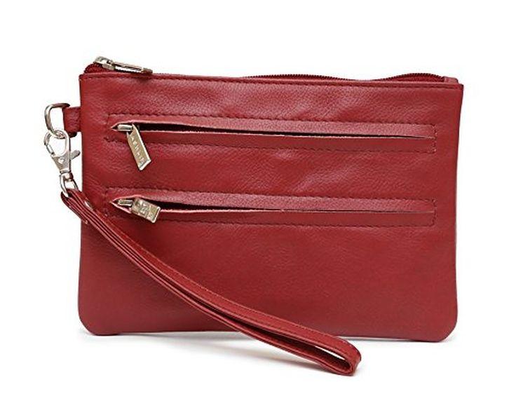 Ashlin Genuine Leather 'Ivonne' Medium Wristlet, Dark Red