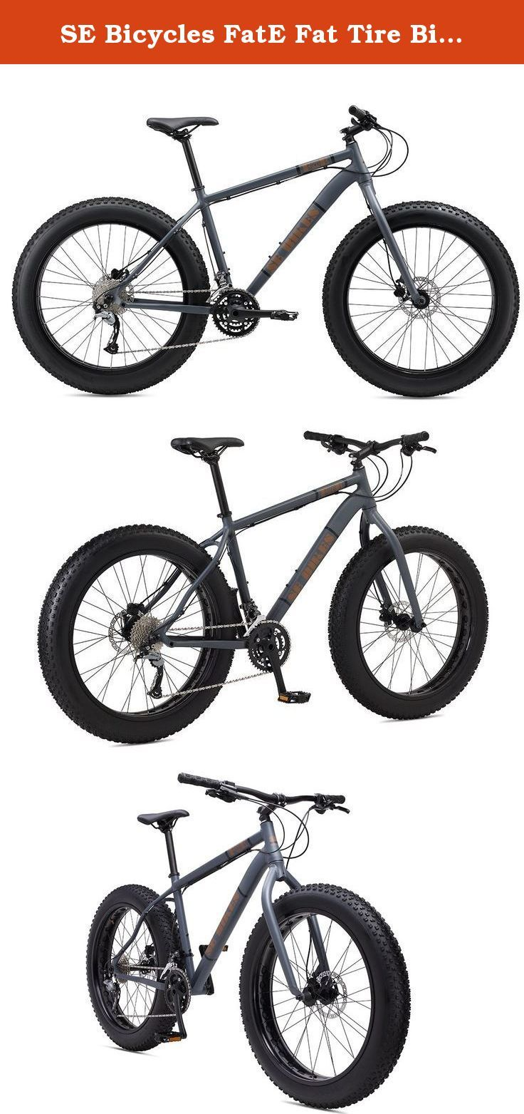 """SE Bicycles FatE Fat Tire Bicycle, Matte Grey, 17""""/Medium. Ride through winter snow, Desert sand, or any trail with this monster truck of bikes. The alloy frame and fork, with a beefy 197mm thru-axle in the back, offer plenty of muscle to handle the 26 x 4.0 tires. A wide-range Shimano 27-speed drivetrain and Tektro hydraulic disc brakes keep you out of trouble."""