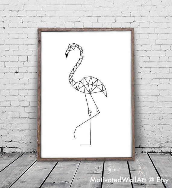 Flamingo Print, Flamingo Art, Geometric Animal, Flamingo Printable, Geometric…