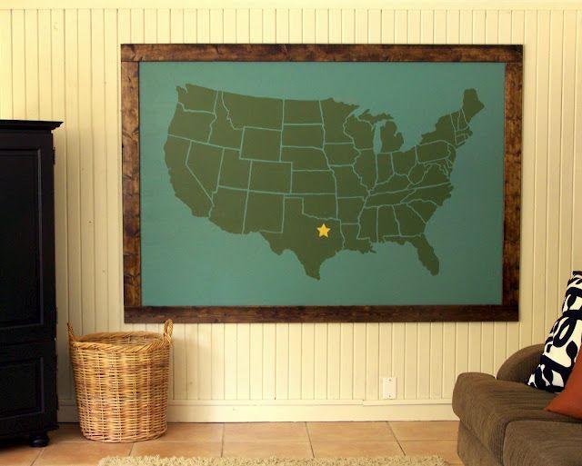 Giant Map DIY - Cheap and fun!20 Bucks, Big Ol, Diy Maps, Wall Maps, Huge Oversized, Ginormous Freakin, Overhead Projector, Art Diy, Oversized Diy