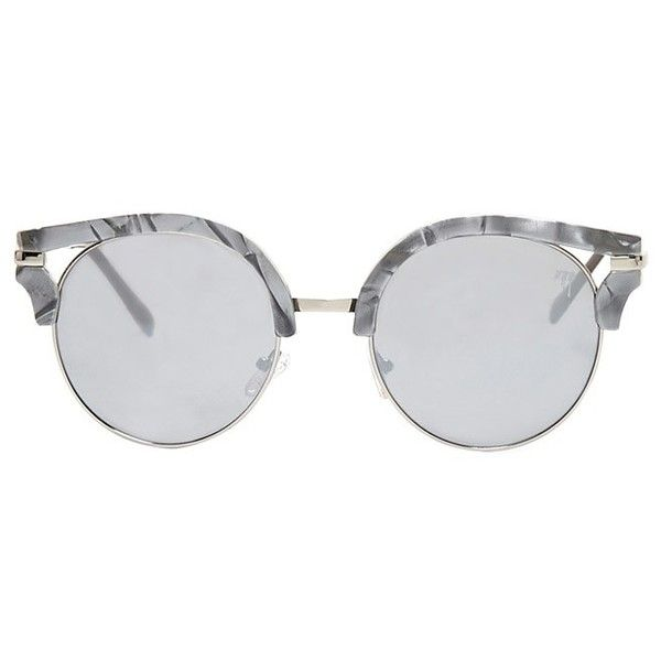 Forever21 MELT Marble Browline Sunglasses (£22) ❤ liked on Polyvore featuring accessories, eyewear, sunglasses, mirror glasses, forever 21 glasses, mirror aviators, aviator glasses and mirrored sunglasses