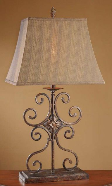 Tuscan Old World Wrought Iron Medallion Table Lamp - $164.90