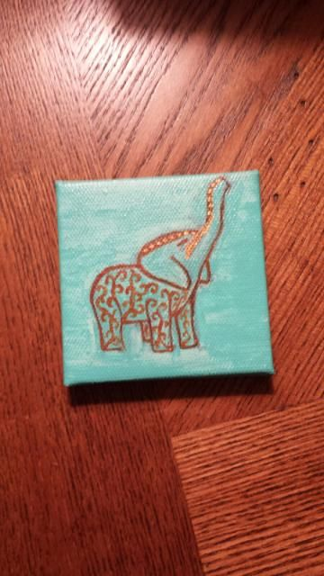 Small elephant canvas painting 2 | Will soon be available for sale on Etsy at KhowploumKreations
