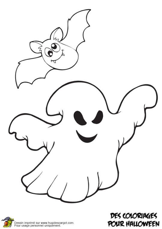 Coloriage fantome et chauve souris