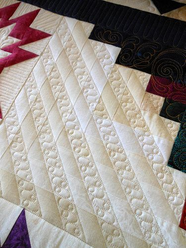 Beautiful way to quilt between straight lines.