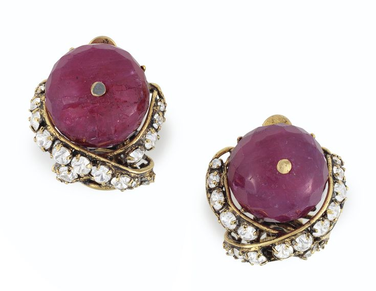 A PAIR OF RUBY AND RHINESTONE EAR CLIPS, BY IRADJ MOINI