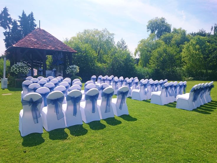 An outdoor ceremony set up at a recent summer wedding at Prested Hall near Colchester http://www.prested.co.uk/weddings/
