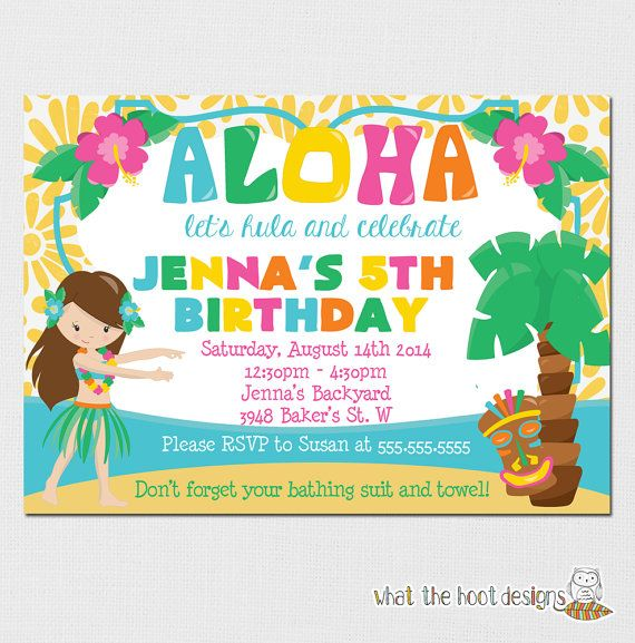 Luau Invitation Luau Birthday Party Luau by whatthehootdesigns