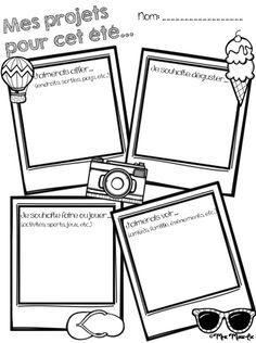 Voici une petite feuille d'activité pour la fin de l'année. Les élèves peuvent y écrire ou y dessiner ce qu'ils feront durant les vacances d'été. Cette feuille peut aussi être ajoutée au portfolio des élèves.