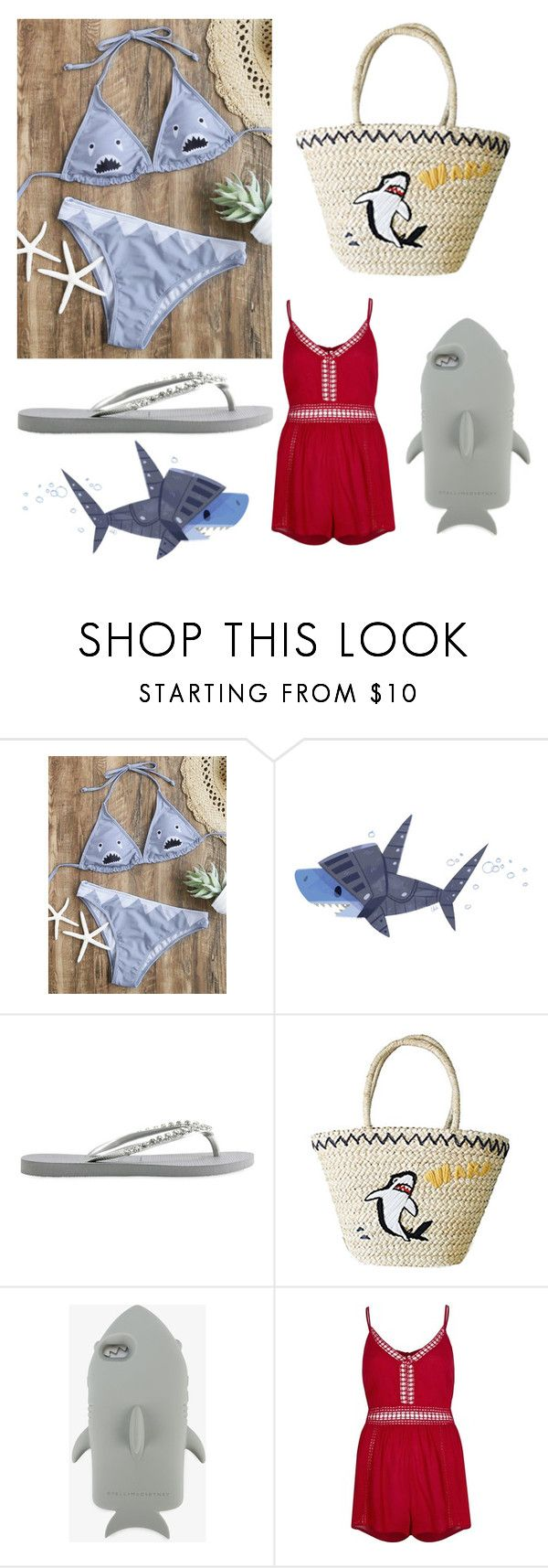 """""""shark beach look 🐬"""" by miagrange1 ❤ liked on Polyvore featuring WithChic, Havaianas, STELLA McCARTNEY and River Island"""