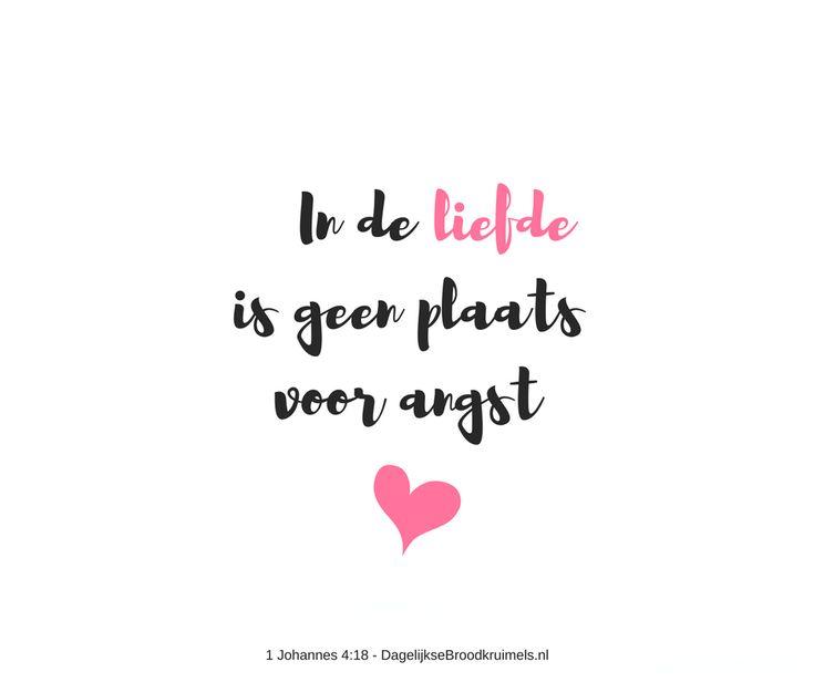 In de liefde is geen plaats voor angst. Integendeel, de volmaakte liefde verdrijft de angst. Angst houdt altijd verband met straf. Wie nog angst kent, kent de volmaakte liefde nog niet.  #Angst, #Liefde, #Volmaaktheid  https://www.dagelijksebroodkruimels.nl/1-johannes-418/