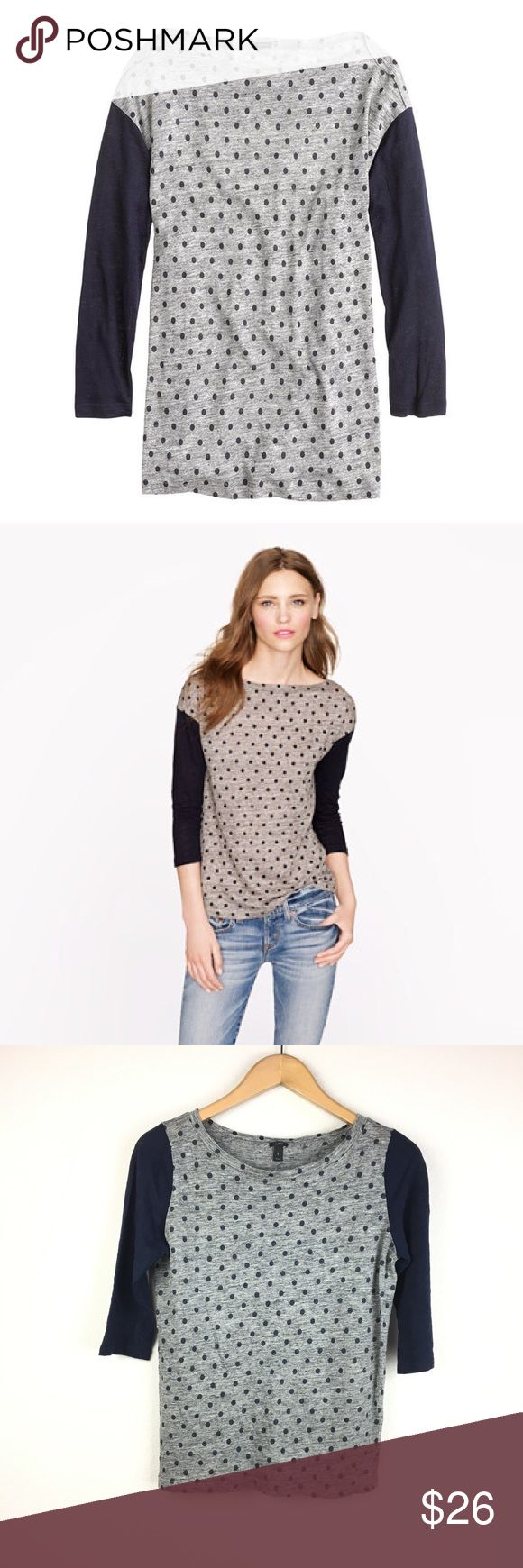 J.Crew Linen Polka Dot Baseball Tee 100% linen.  Gray body with navy blue polka dots.  Colorblocked navy ¾ length sleeves.  Round neckline.  Semi-fitted, slightly drapey fit.  Excellent pre-owned condition. J. Crew Tops Tees - Long Sleeve