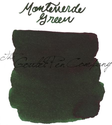 A 2ml sample of Monteverde Green fountain pen ink, in a labeled plastic vial.