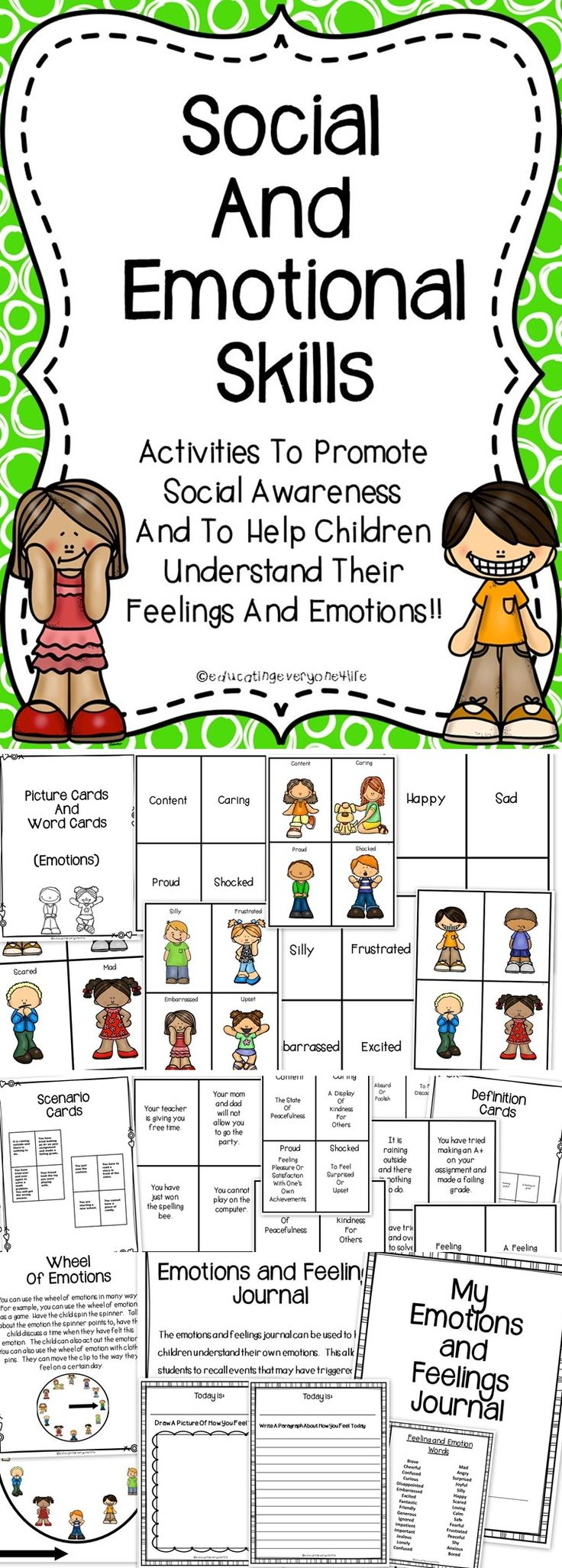 Social and Emotional Skills - This is a supplemental activity book to use with children when teaching them social skills and about their emotions. This social skills resource includes games, scenario cards, a journal, and more. #education