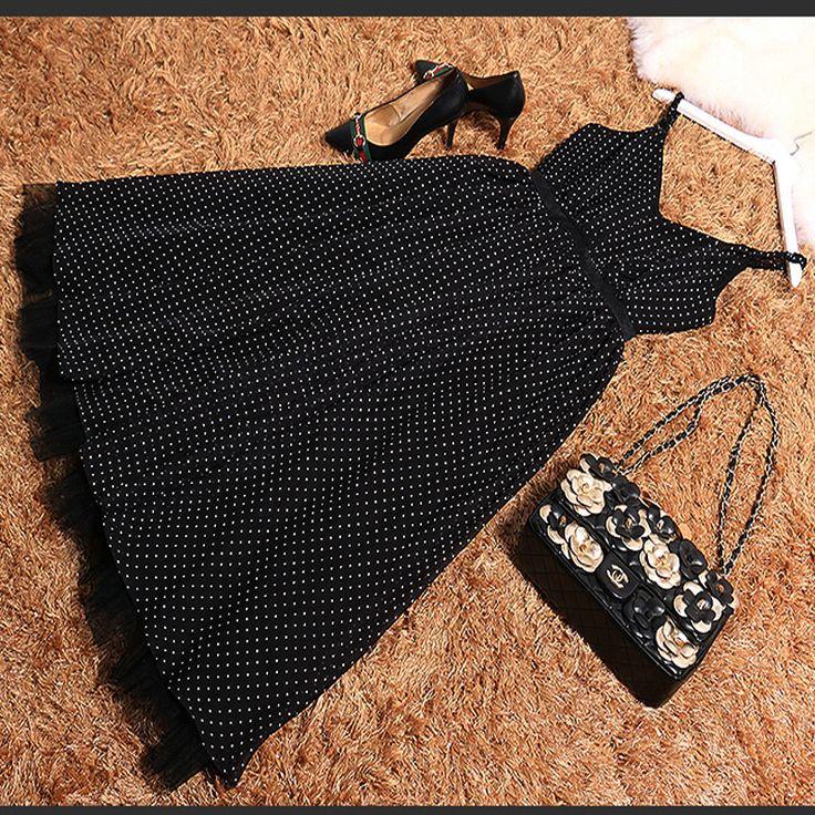 US $95.86 -- Летние Мода 2017 г. элегантные пикантные с v-образным вырезом в горошек печати спагетти ремень Платье черного цвета купить на AliExpress