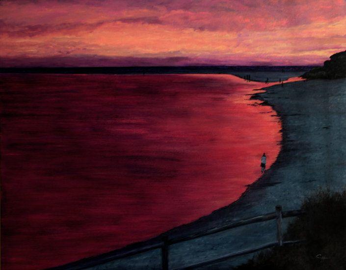 """""""Evening Stroll"""" by artist Carol Hazel - Buy Western Australian Art Online from Out of the Box Biz"""