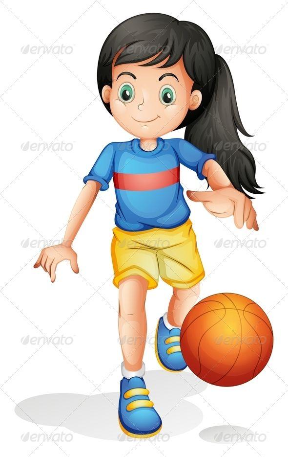 Girl Playing Basketball Stage Set Design Little Girls Illustration
