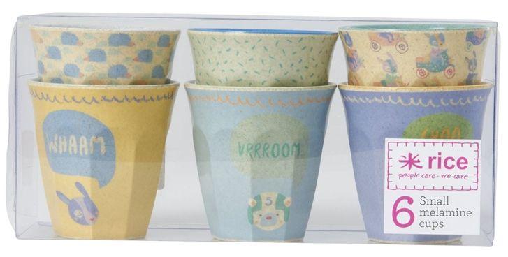 Rice Barnmugg Bambu Melamin Liten 6-pack, Blå