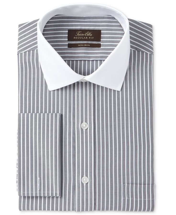 Tasso Elba Men's Classic/Regular Fit Non-Iron Charcoal Twill Bar Stripe Contrast Collar French Cuff Dress Shirt, Only at Macy's - Dress Shirts - Men - Macy's