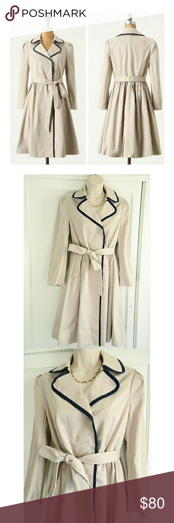 """Anthropologie Elevenses Fair Lady Trench NWOT This is absolutely darling, but I haven't worn it, so it's up for grabs. It's the Fair Lady trench coat by Elevenses, brand new without tags. True to size, it's a size 4 with the approx. measurements: bust: 17.5"""", waist: about 14.5"""" across before being cinched by belt, total length: 37"""". It's a pale stone-beige with navy piping. So feminine and figure-flattering. The price is firm, thank you kindly! Anthropologie Jackets & Coats Trench Coats"""