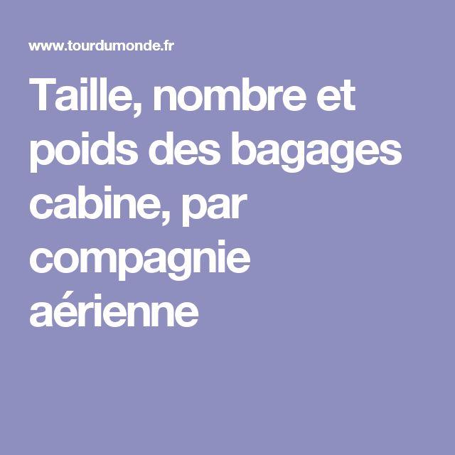 Taille, nombre et poids des bagages cabine, par compagnie aérienne
