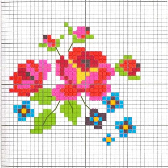 Free small floral cross stitch pattern #stitching #flowers