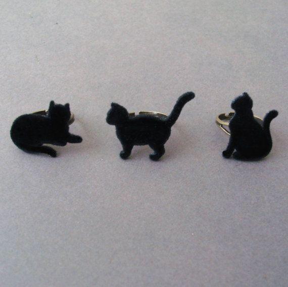 Gray Cat Ring Little Gray Cat Fuzzy Furry Velvet by TemporalFlux