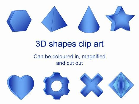 free template containing a large selection of different 3D shapes.    The collection includes hearts, stars, diamonds, crosses, arrows, ticks, pyramids and cylinders, to mention a few.    They can be scaled to size and used within your PowerPoint presentation.