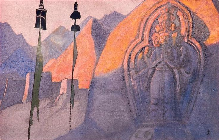 Chenrezig, 1932 by Nicholas Roerich. Symbolism. landscape