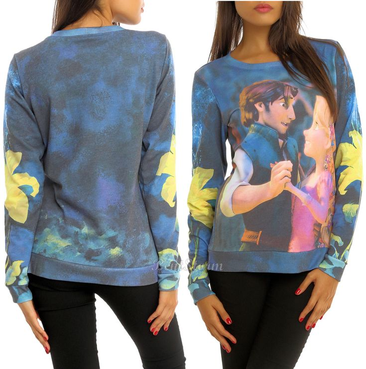 Disney Tangled Rapunzel Flynn Duo Dancing Crewneck Sweatshirt Pullover Top
