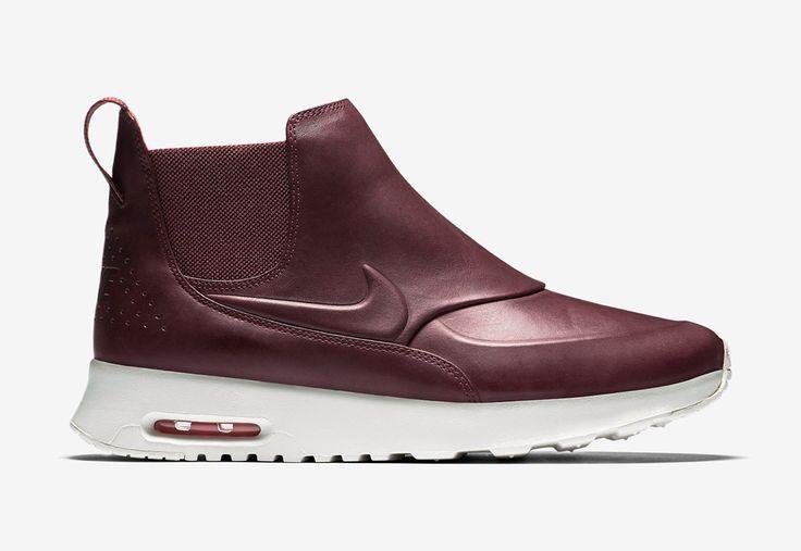 Nike Air Max Thea Mid — dámské kotníkové boty — kožené — slip on — dámská perka (Chelsea Boots) — vínové, tmavě červené #nike #nikeairmaxtheamid #nikeairmaxthea #nikeair #sneakers #chelseaboots