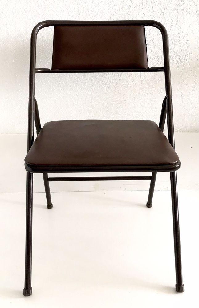 Mid Century Cosco Metal Folding Chairs Vintage Brown Metal Vinyl