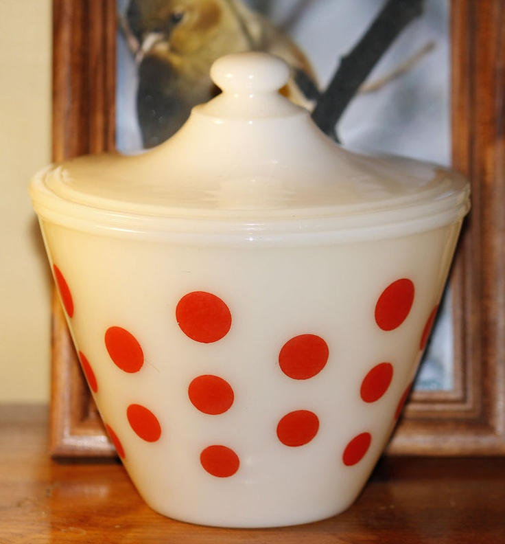 Fire King Grease Jar (Love the Polka Dots but the Tulips are prettier.)